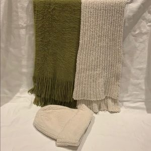 2scarfs,one hat .Super soft .Green and ivory